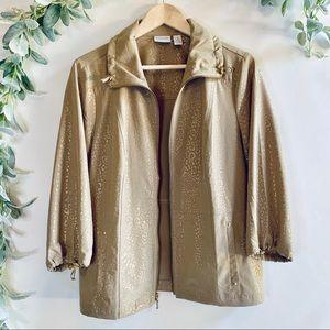 Chico's Zenergy | Tan Jacket w/ Gold Cheetah Print